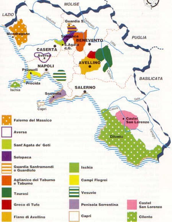 Cartina Fiumi Campania.Zone Di Produzione In Campania